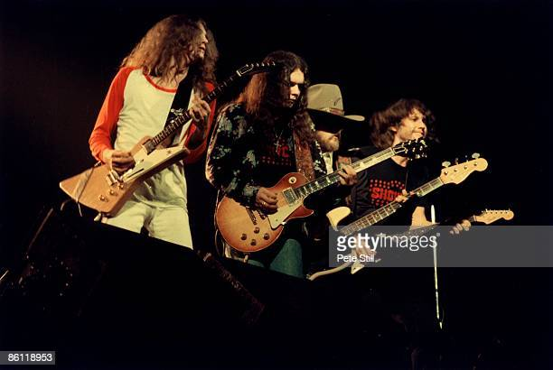 Photo of Leon WILKESON and Allen COLLINS and LYNYRD SKYNYRD and Gary ROSSINGTON and Stave GAINES LR Allen Collins Gary Rossington Leon Wilkeson Steve...