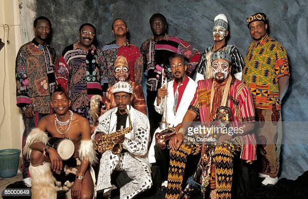 Photo of Lester BOWIE and ART ENSEMBLE OF CHICAGO Granada Jazz Festival with Lester Bowie in white jacket and red shirt with trumpet
