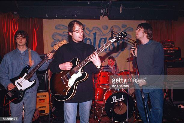 Photo of Liam GALLAGHER and Paul 'Bonehead' ARTHURS and Paul 'Guigsy' McGUIGAN and OASIS, L-R: Paul 'Guigsy' McGuigan, Paul 'Bonehead' Arthurs, Tony...