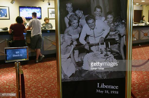 A 1958 photo of Liberace is displayed near the registration desk at the Riviera Hotel Casino on April 30 2015 in Las Vegas Nevada The Las Vegas...