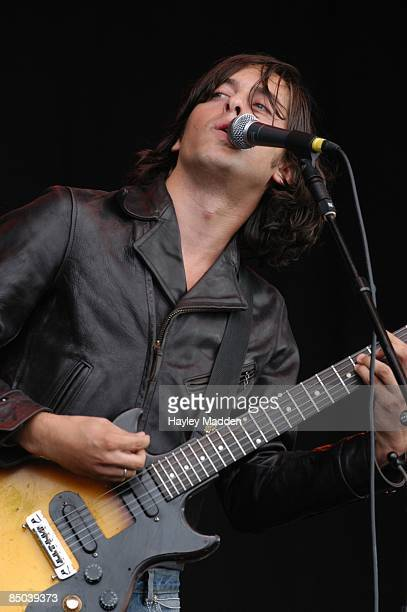 FESTIVAL Photo of LIBERTINES and Carl BARAT Carl Barat performing live onstage playing Gibson Melody Maker guitar