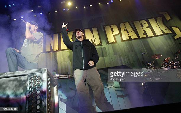 ARENA Photo of Linkin Park Linkin Park play the Manchester Evening News Arena Pic shows frontman Chester and Mike Shinoda Pic Jim Sharp