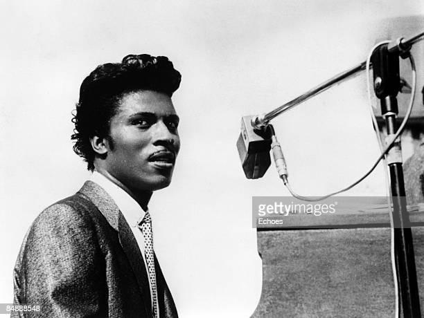 Photo of Little RICHARD; Posed portrait of Little Richard in a recording studio