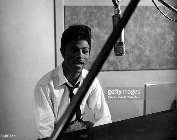 Photo of Little RICHARD; Singing in studio,