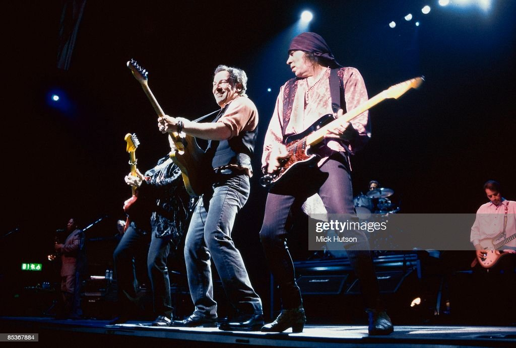 COURT Photo of LITTLE STEVEN and Steven VAN ZANDT and Bruce SPRINGSTEEN, with the E-Street band - L-R: Nils Lofgren, Bruce Springsteen, Steven Van Zandt (aka Stevie Van Zandt - Little Steven), Gary Tallent (back), performing live onstage on Reunion tour