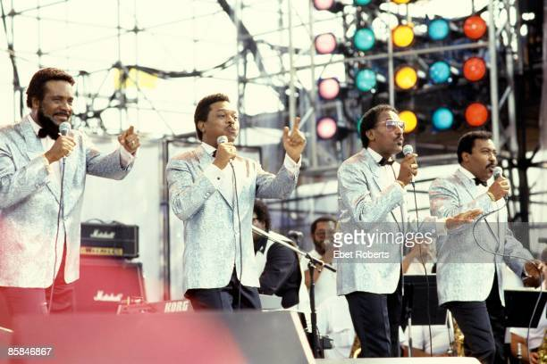 UNITED STATES JULY 13 JFK STADIUM Photo of LIVE AID and Levi STUBBS and Lawrence PAYTON and FOUR TOPS and Abdul FAKIR and Renaldo BENSON LR Levi...