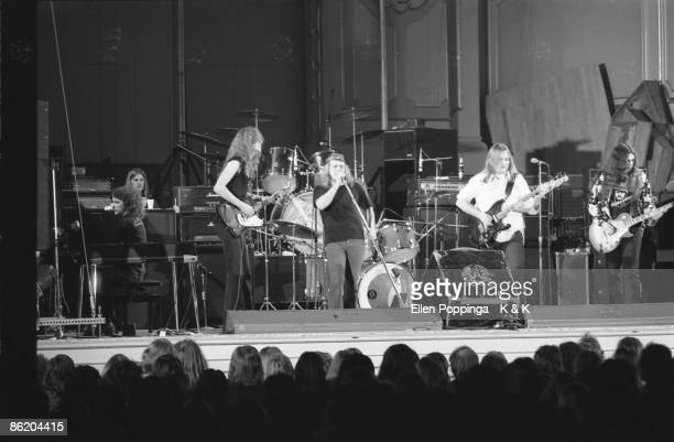 Photo of LYNYRD SKYNYRD and Billy POWELL and Allen COLLINS and Ronnie VAN ZANT and Ed KING and Gary ROSSINGTON LR Billy Powell Allen Collins Ronnie...