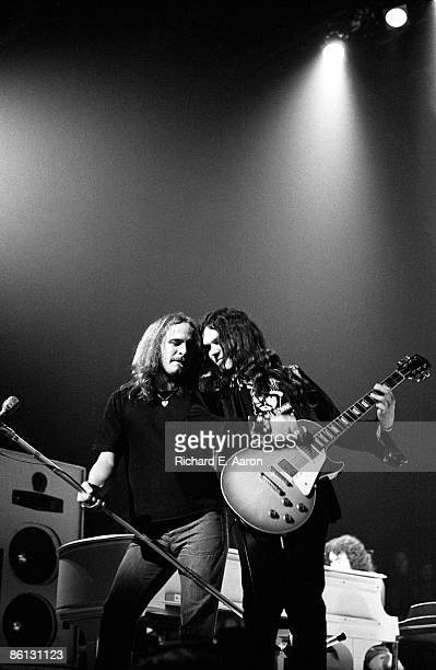 THEATER Photo of LYNYRD SKYNYRD and Ronnie Van ZANT and Gary ROSSINGTON Ronnie Van Zant and Gary Rossington performing on stage