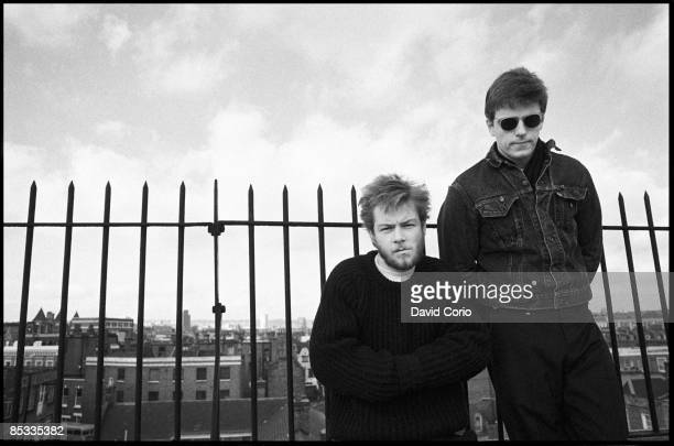 Photo of MADNESS and Chas SMASH and SUGGS; Portrait of Chas Smash and Suggs on the roof of Stiff Records in Camden Town