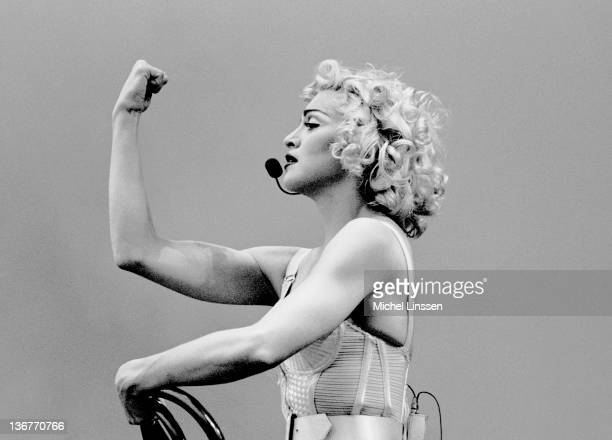 Photo of MADONNA Madonna performing on stage at the Feyenoord stadium Blond Ambition tour on 24th July 1990