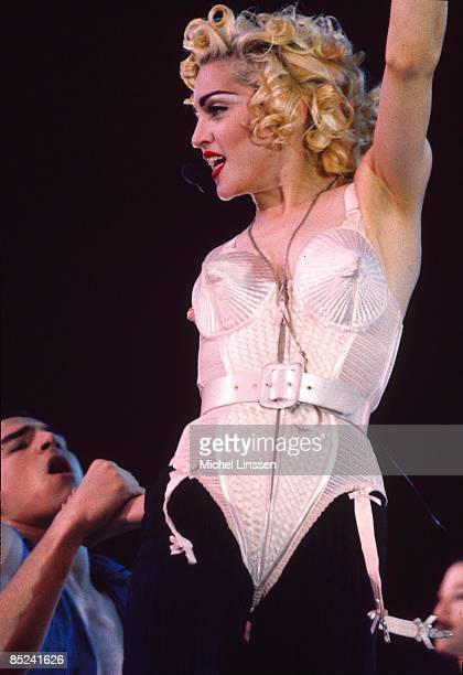 Photo of MADONNA, Madonna performing on stage at the Feyenoord stadium - Blond Ambition tour