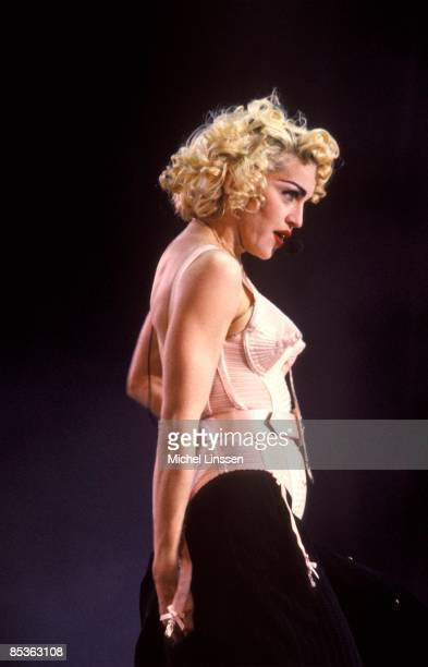 ROTTERDAM Photo of MADONNA Madonna performing on stage at the Feyenoord stadium Blond Ambition tour