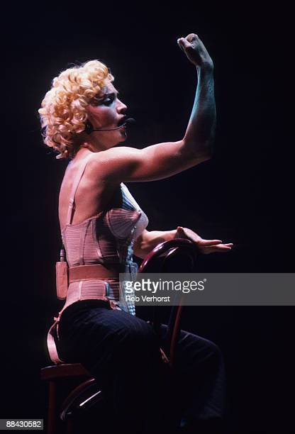 Photo of MADONNA, Madonna performing on stage, corset - Blond Ambition Tour