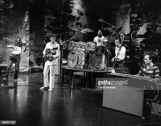 Photo of MAHAVISHNU ORCHESTRA and John McLAUGHLIN and Jan HAMMER and Billy COBHAM; performing with the Mahavishnu Orchestra L-R jerry Goodman John...