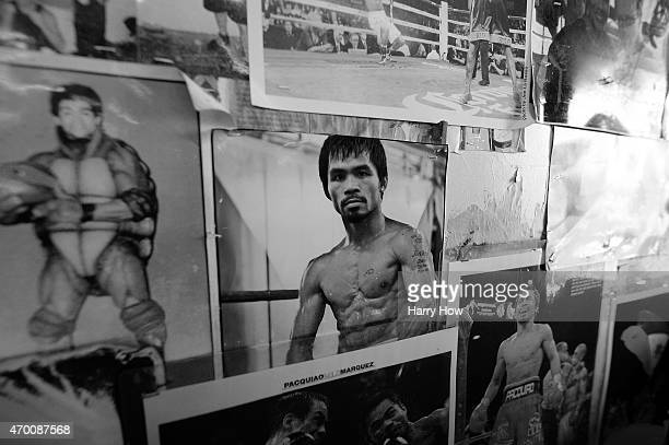 Photo of Manny Pacquiao on the wall before training in prepation for his fight against Floyd Mayweather Jr at the Wild Card Boxing Club on April 13...