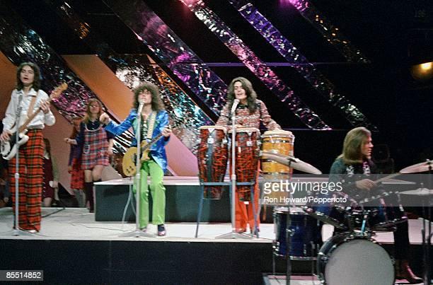 Photo of Marc BOLAN and T REX, L-R: Steve Currie, Marc Bolan, Mickey Finn, Bill Legend