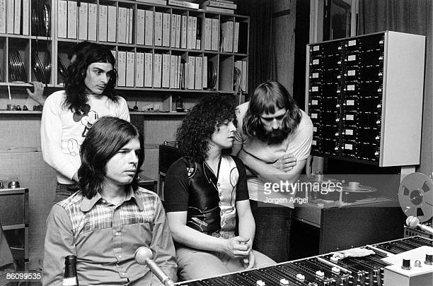 Photo of Marc BOLAN; Marc Bolan / T-Rex at Rosenberg Studios, Copenhagen, where Marc was recording, March 1972., Standing at the back: Mickey Finn....