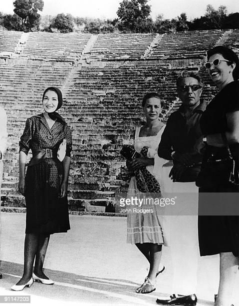 Photo of Maria CALLAS; L-R. Maria Callas and Mr & Mrs Aristotle Onasis