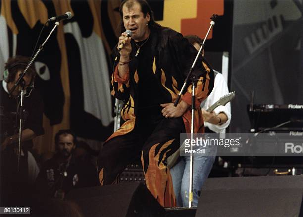 STADIUM Photo of MARILLION and FISH Fish performing on stage at the Nelson Mandela 70th Birthday Tribute concert