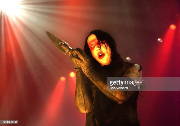 Photo of MARILYN MANSON Marilyn Manson performing on stage at the Brabanthallen in 'sHertogenbosch