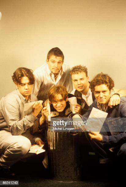 Photo of Mark OWEN and TAKE THAT and Robbie WILLIAMS and Gary BARLOW LR Robbie Williams Jason Orange Mark Owen Gary Barlow Howard Donald