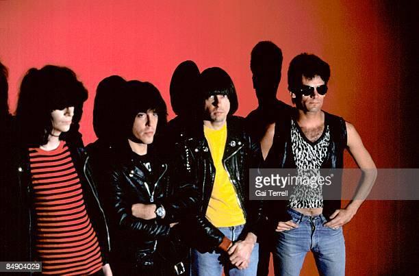 Photo of Marky RAMONE and RAMONES and Johnny RAMONE and Joey RAMONE; L-R. Joey Ramone, Marky Ramone, Johnny Ramone, Dee Dee Ramone