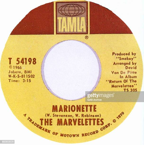 Photo of MARVELETTES and MOTOWN RECORDS Motown single label for 'Marionettes' by The Marvelettes