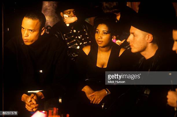 Photo of MASSIVE ATTACK and Shara NELSON and Andrew VOWLES and Robert Del NAJA LR Andrew Vowles Shara Nelson Robert Del Naja posed on set of Friday...