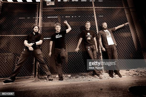 Photo of MASTODON and Troy SANDERS and Bill KELLIHER and Brann DAILOR and Brent HINDS LR Troy Sanders Bill Kelliher Brann Dailor Brent Hinds posed...