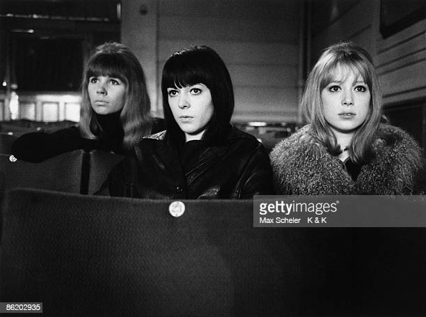 Photo of Maureen COX and BEATLES and Astrid KIRCHHERR and Patti BOYD LR Astrid Kirchher Maureen Cox Patti Boyd on set of 'A Hard Days Night' at the...