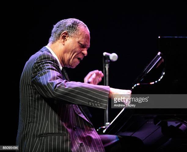 Photo of McCOY TYNER; Jazz pianist McCoy Tyner performing on stage