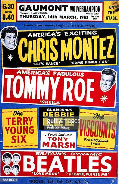 Photo of memorabilia BEATLES and CONCERT POSTERS and BEATLES memorabilia poster for a date on one of their first package tours with Chris Montez...