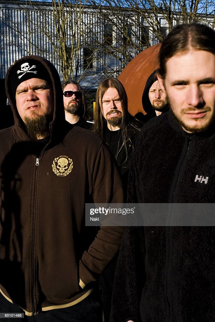 Photo of MESHUGGAH and Marten HAGSTROM and Tomas HAAKE and Fredrik THORDENDAL and Jens KIDMAN and Dick LOVGREN; Posed group portrait L-R Marten Hagstrom, Tomas Haake, Fredrik Thordendal, Jens Kidman and Dick Lovgren