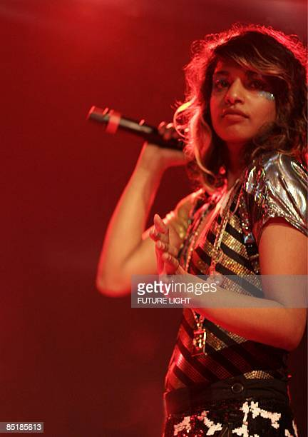 Photo of M.I.A. And MIA, M.I.A performing on stage at the Institute of Contemporary Arts