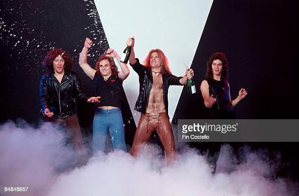 Photo of Michael ANTHONY and Eddie VAN HALEN and David LEE ROTH and VAN HALEN and Alex VAN HALEN, L-R: Alex Van Halen, Michael Anthony, David Lee...