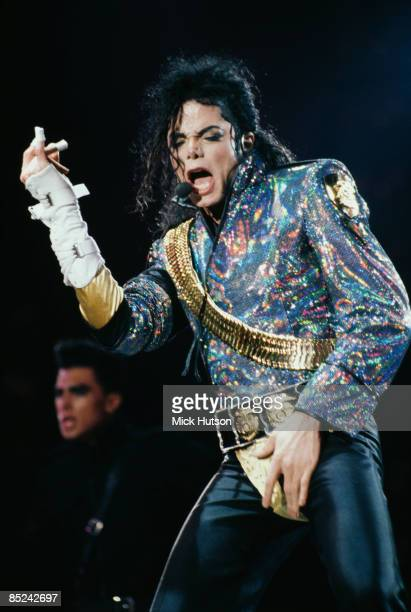 STADIUM Photo of Michael JACKSON Michael Jackson performing on stage crotch grabbing Dangerous Tour