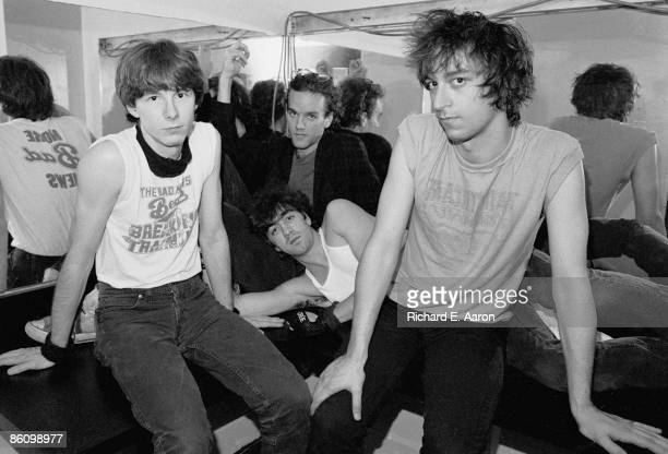 PALLADIUM Photo of Michael STIPE and Mike MILLS and REM and Peter BUCK and Bill BERRY LR Mike Mills Michael Stipe Bill Berry Peter Buck posed group...