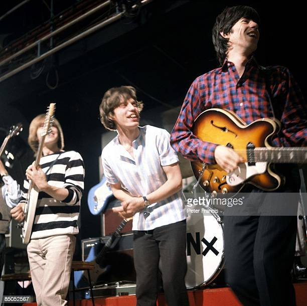 Photo of Mick JAGGER and ROLLING STONES and Brian JONES and Keith RICHARDS, Brian Jones, Mick Jagger, Keith Richards performing on Ready Steady Go!...