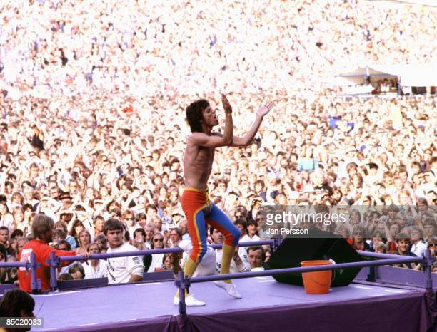 Photo of Mick JAGGER and ROLLING STONES; Mick Jagger performing live onstage, showing crowds behind, stadium, clapping at Ullevi Stadium, Gothenburg