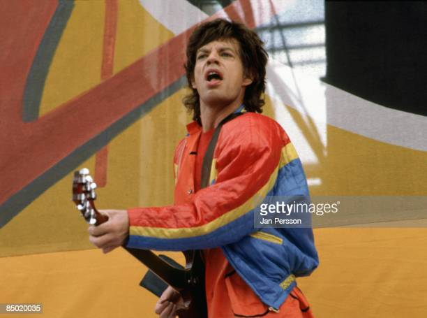 Photo of Mick JAGGER and ROLLING STONES; Mick Jagger performing live onstage, playing guitar at Ullevi Stadium, Gothenburg