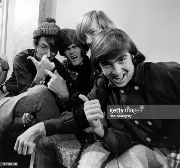 Photo of Mickey DOLENZ and MONKEES and Davy JONES and Mike NESMITH LR Mike Nesmith Mickey Dolenz Peter Tork Davy Jones