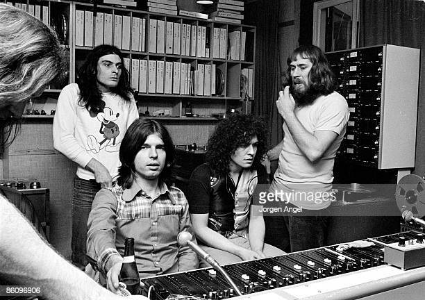 Photo of Mickey FINN and T REX and Marc BOLAN and Tony VISCONTI; L-R: Mickey Finn , Tony Visconti, Marc Bolan, engineer Freddy Hansson, recording T...