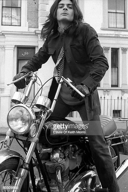 Photo of Mickey FINN and T REX; Mickey Finn posed on Norton motorbike