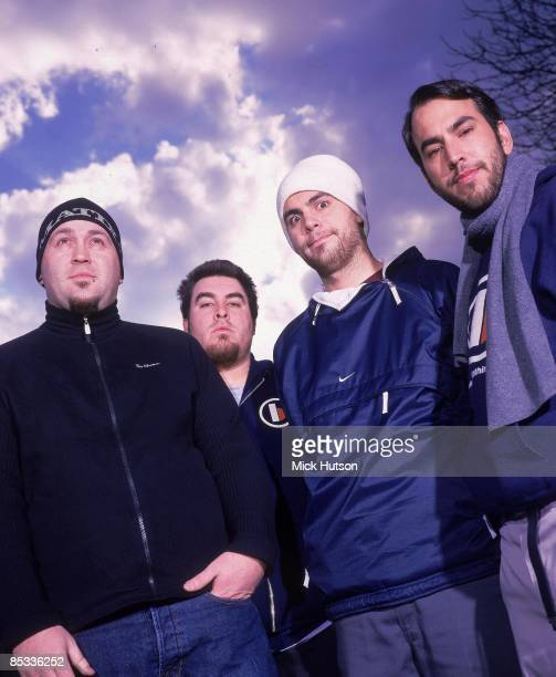 Photo of Mike COSGROVE and ALIEN ANT FARM and Dryden MITCHELL and Terry CORSO and Tye ZAMORA Posed group portrait LR Terry Corso Tye Zamora Dryden...
