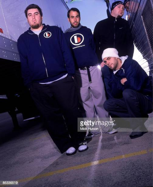 Photo of Mike COSGROVE and ALIEN ANT FARM and Dryden MITCHELL and Terry CORSO and Tye ZAMORA Posed group portrait LR Tye Zamora Mike Cosgrove Terry...