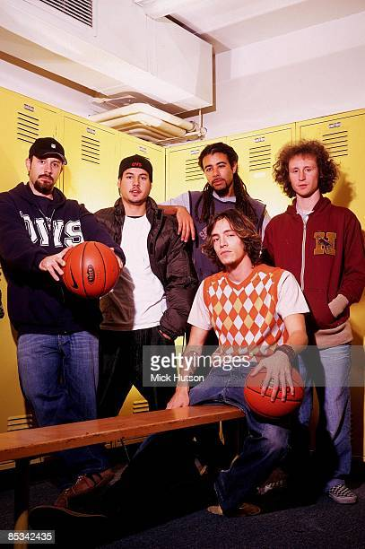 Photo of Mike EINZIGER and INCUBUS and Dirk LANCE and Jose PASILLAS and Chris KILMORE and Brandon BOYD Posed group portrait basketball LR Dirk Lance...