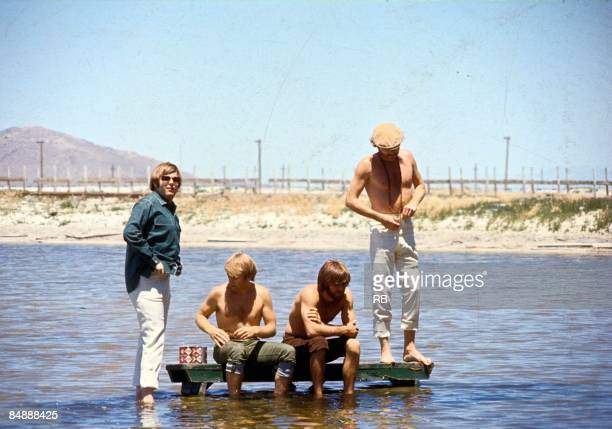 Photo of Mike LOVE and BEACH BOYS and Carl WILSON and Al JARDINE and Brian WILSON Posed portrait on June 16 1968 in Salt Lake City Utah LR Carl...