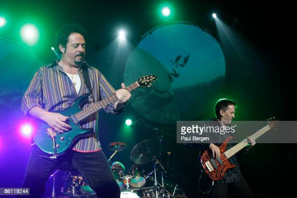 Photo of Mike PORCARO and Steve LUKATHER and TOTO, L-R. Steve Lukather, Mike Porcaro