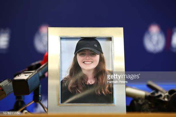 A photo of missing British woman Grace Millane is displayed ahead of a press conference on December 07 2018 in Auckland New Zealand Police are...
