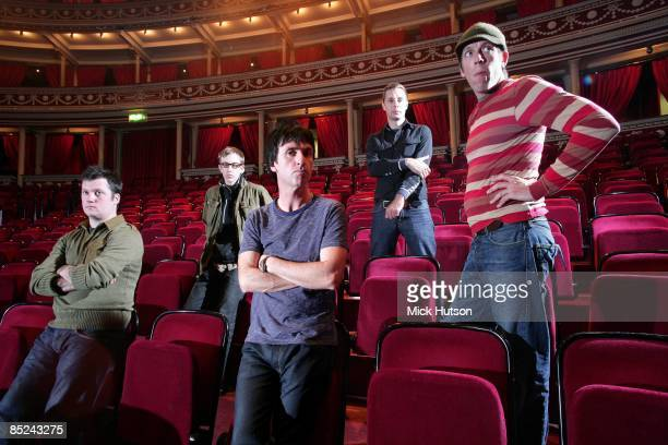 HALL Photo of MODEST MOUSE and Isaac BROCK and Jeremiah GREEN and Johnny MARR and Joe PLUMMER and Tom PELOSO LR Isaac Brock Jeremiah Green Johnny...